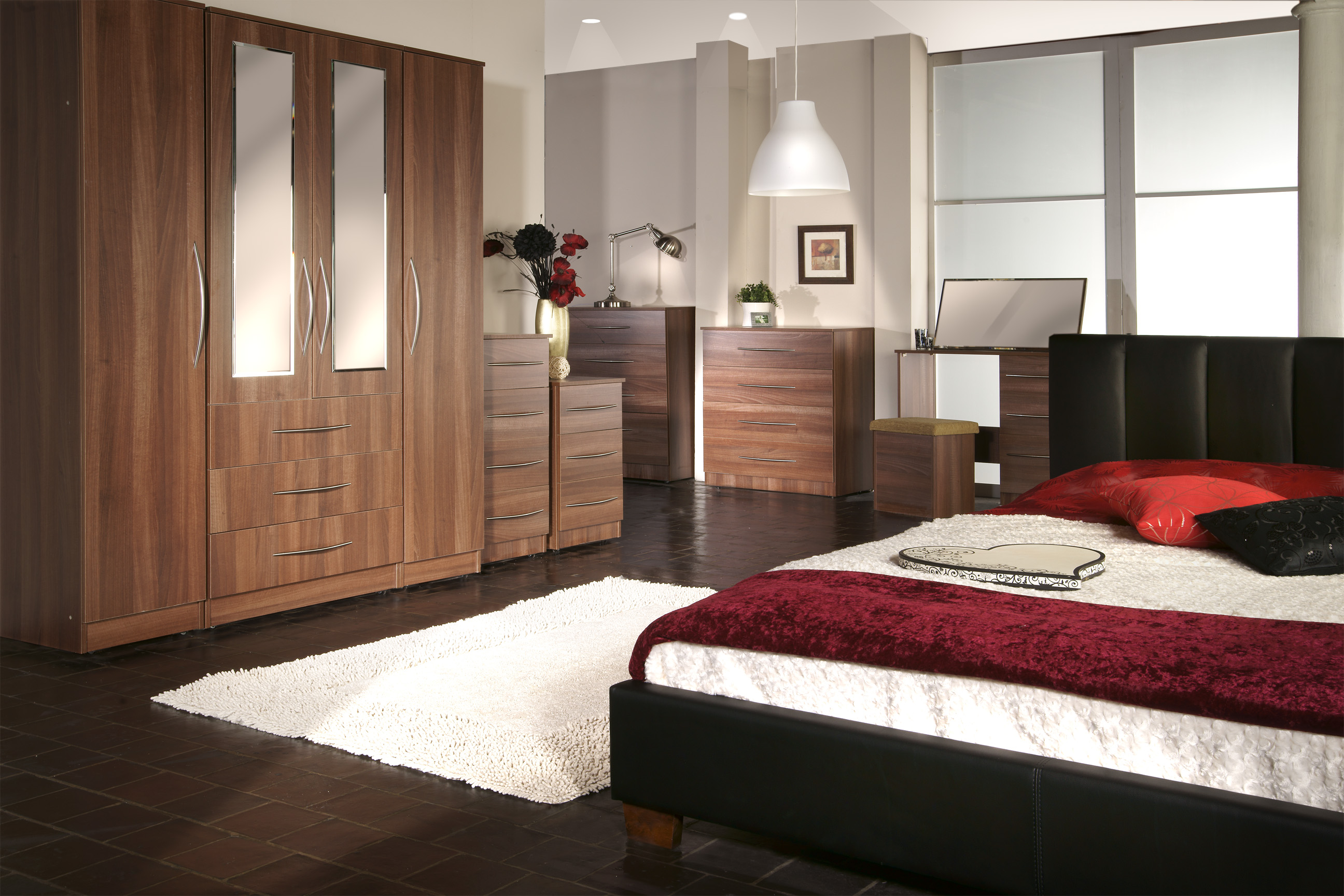 Orion package walnut furniture pack solutions for Cheap bedroom furniture packages
